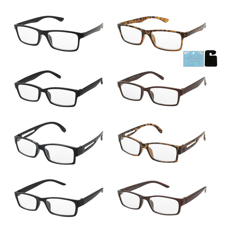 Wholesale Assorted Colors Acrylic Single Power Square Readers Unisex | 1 Dozen with Tags | SPU4