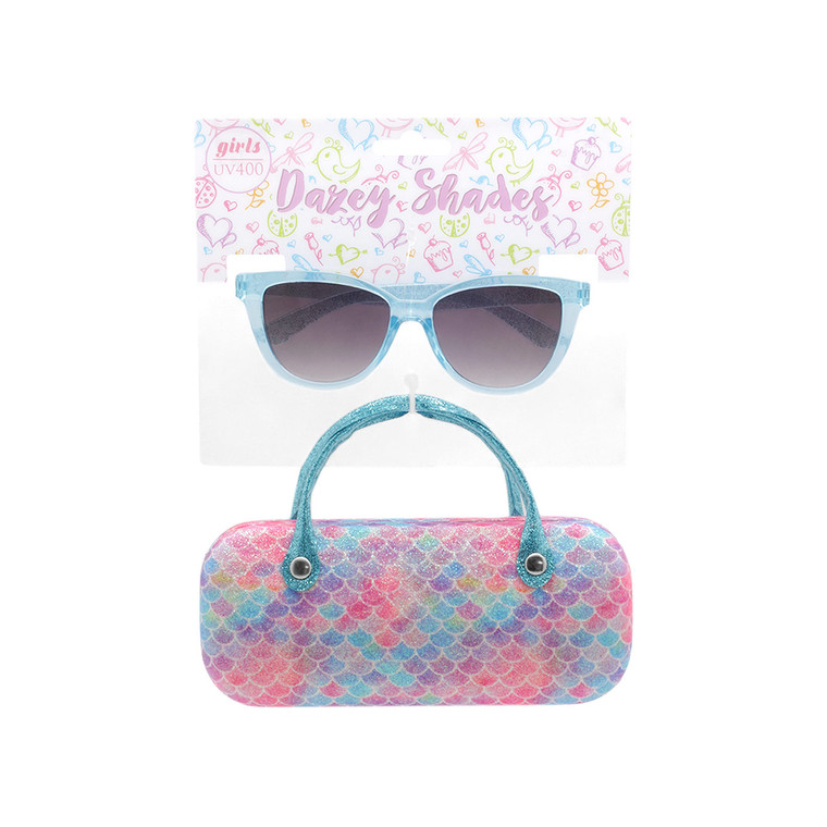 Wholesale Matte Polycarbonate UV400 Tween Cat Eye Fashion Sunglasses with Case | 4 Pieces per Inner | DST12A