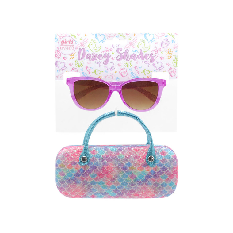 Wholesale Matte Polycarbonate UV400 Tween Cat Eye Fashion Sunglasses with Case | 4 Pieces per Inner | DST12B