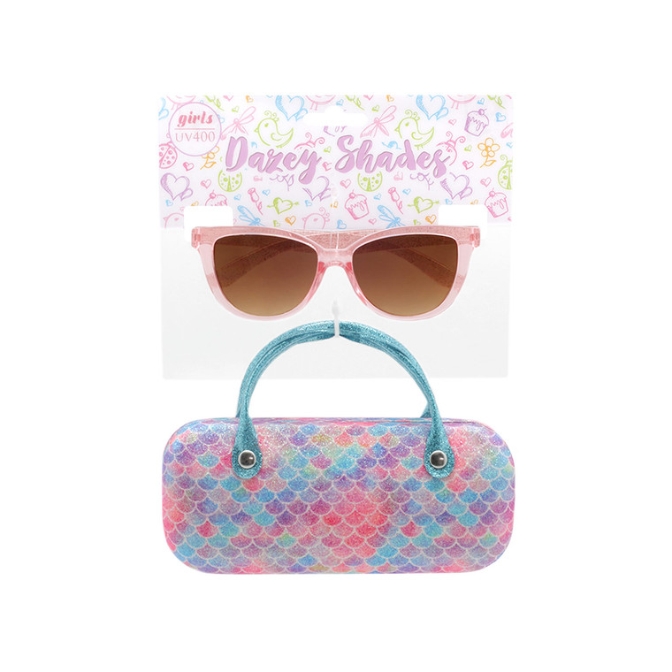 Wholesale Matte Polycarbonate UV400 Tween Cat Eye Fashion Sunglasses with Case | 4 Pieces per Inner | DST12C