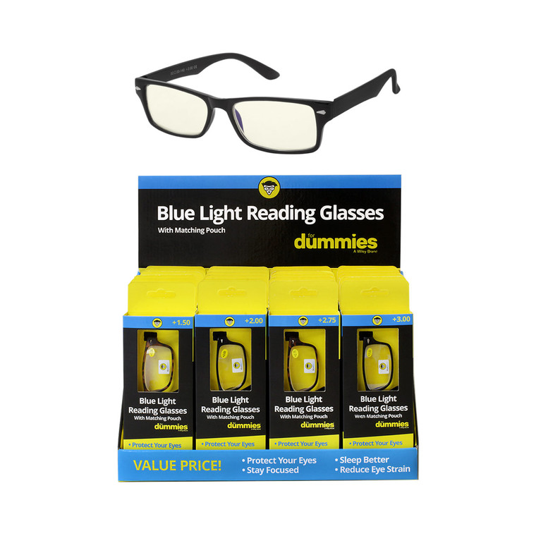 Wholesale Acrylic Dummies Blue Light Block Glasses Cardboard Counter Display 24 Pieces | DUMBLR24