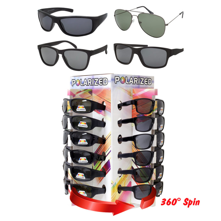 Wholesale Assorted Color Polycarbonate Metal Assorted Style Sunglasses Cardboard 4 Panel Counter Display 48 Pieces | POL48CD2