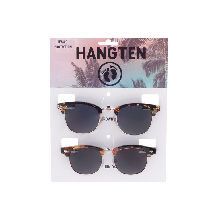 Wholesale Hang Ten Smoke Color Polycarbonate UV400 Round Sunglasses Unisex | 1 Inner with Hang Card | HTPM02B