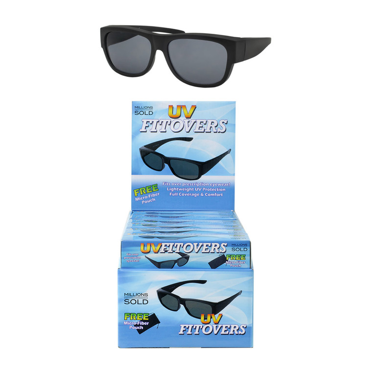 Wholesale Smoke Color Polycarbonate UV400 Round Square Sunglasses Cardboard Counter Display 18 Pieces | UV2FITOVER18