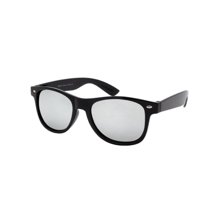 Wholesale Black Polycarbonate UV400 Classic Silver Mirror Sunglasses Unisex | 1 Dozen with Tags | W11BSSM