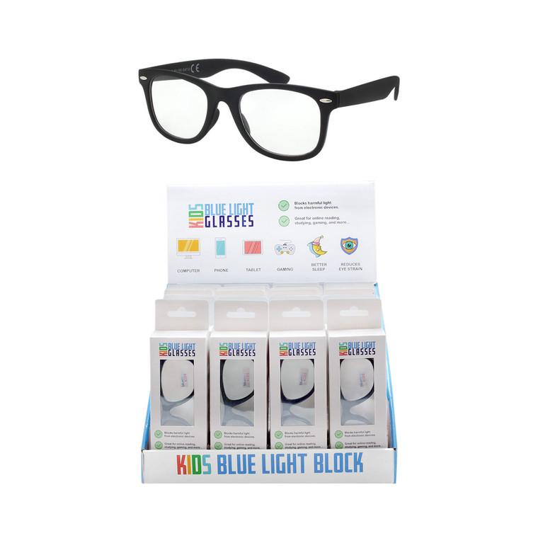Wholesale Multicolor Kids Acrylic Blue Light Block Glasses Cardboard Counter Display 24 Pieces | KIDSBLUE24