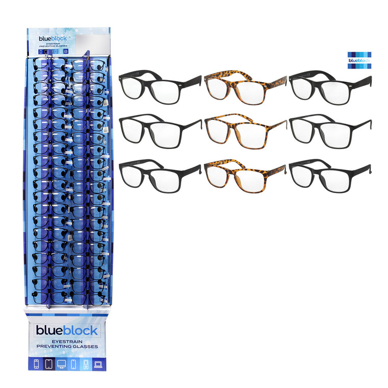 Wholesale Assorted Colors Polycarbonate Blue Block Glasses Cardboard Display 180 Pieces | BLUE40PCFD