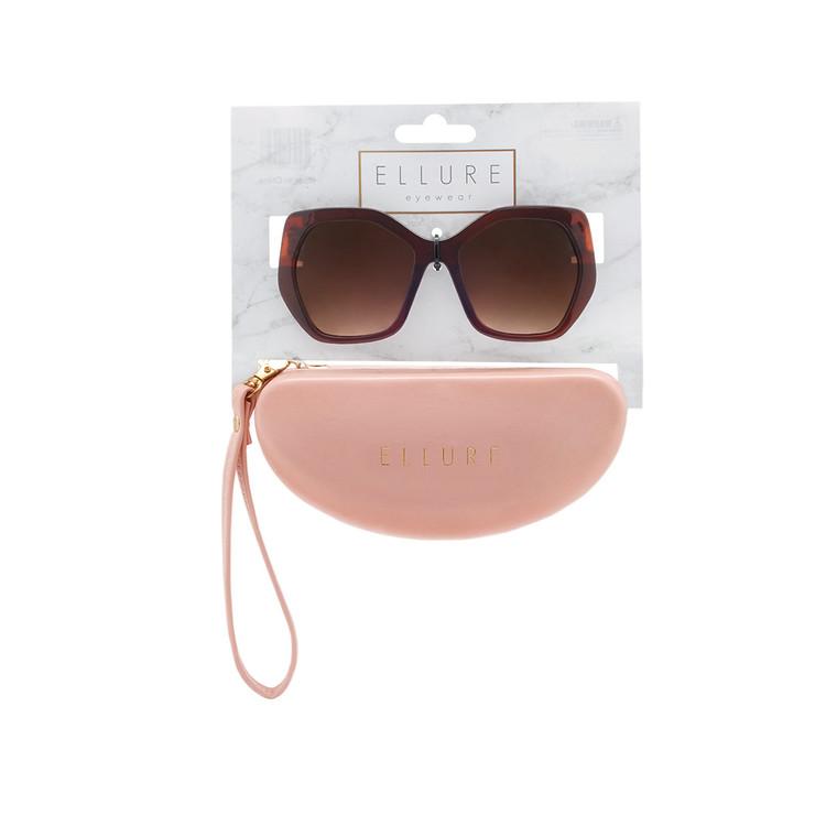 Wholesale Polycarbonate UV400 Women Square Fashion Sunglasses with Case | 4 Pieces per Inner | ELC01A