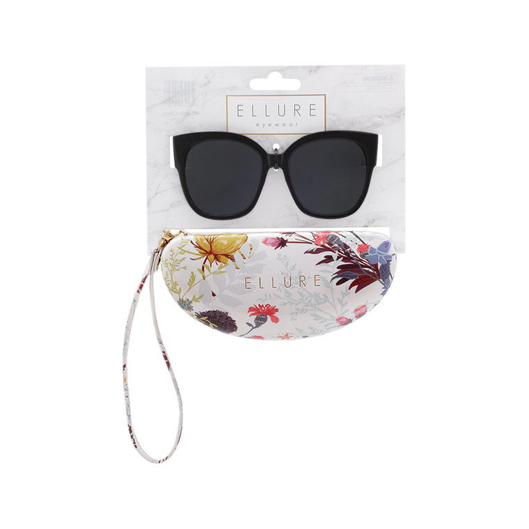 Wholesale Polycarbonate UV400 Women Cat Eye Fashion Sunglasses with Case | 4 Pieces per Inner | ELC02A