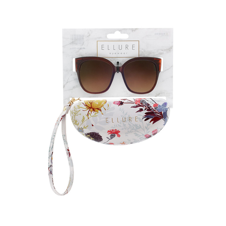 Wholesale Polycarbonate UV400 Women Cat Eye Fashion Sunglasses with Case | 4 Pieces per Inner | ELC02B