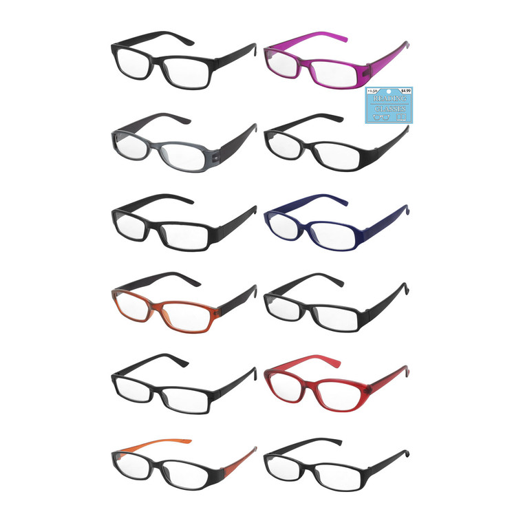 Wholesale Assorted Colors Acrylic Single Power Style Readers Unisex | 1 Dozen with Tags | MWU12-Single Powers