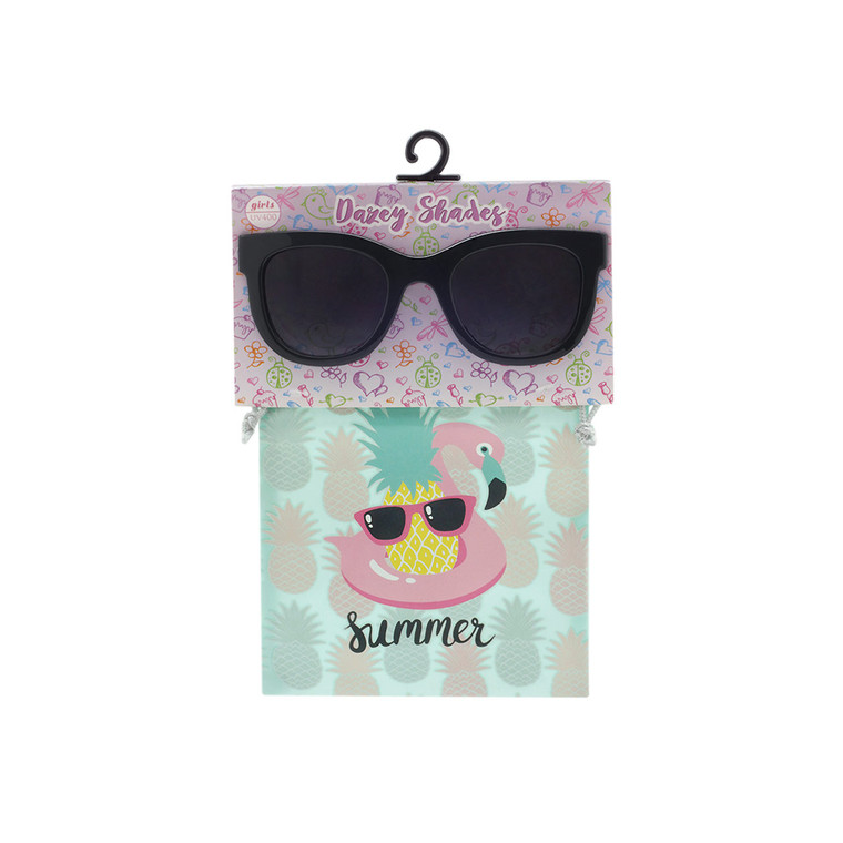 Wholesale Black Polycarbonate UV400 Tween Cat Eye Fashion Sunglasses with Accessory Bag | KBG04C