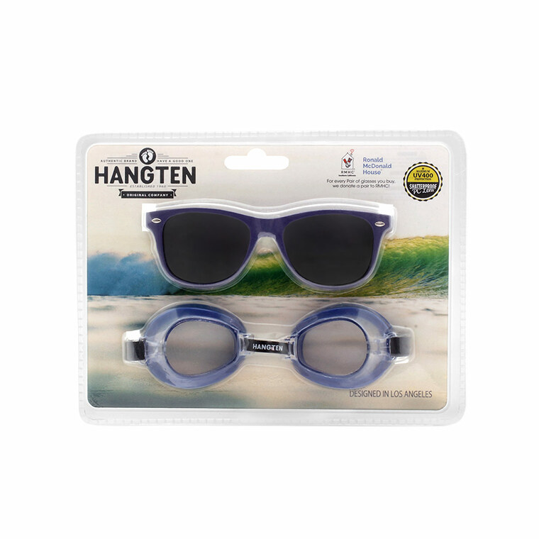 Wholesale Polycarbonate Hang Ten Kids Sunglasses Swim Goggles  | 1 Dozen with Tags | HSG01A