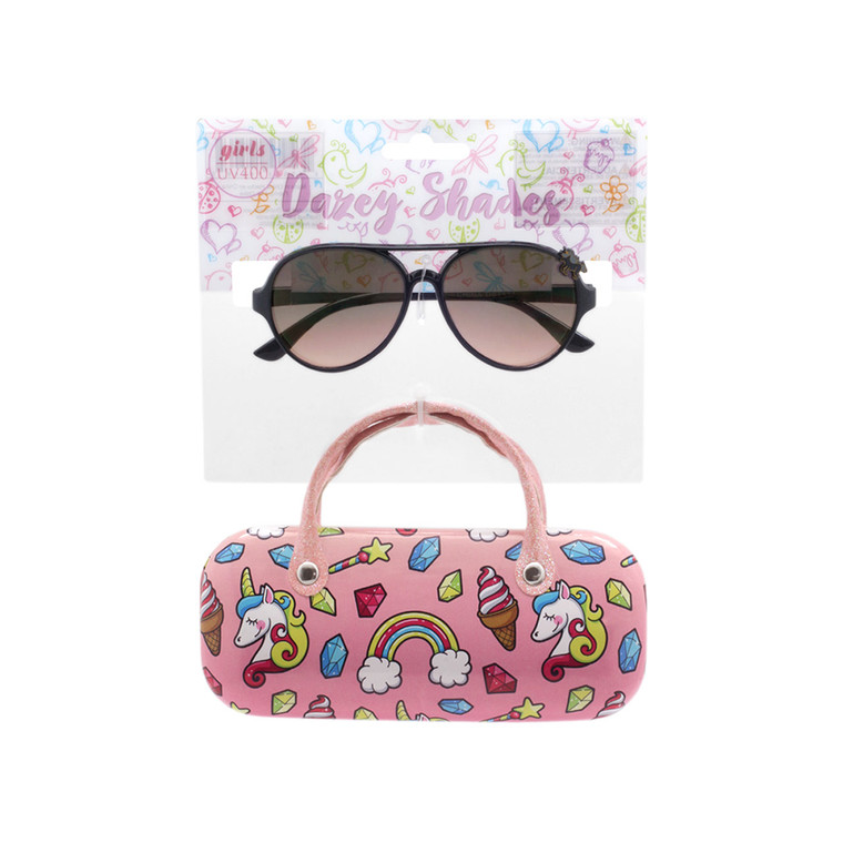 Wholesale Polycarbonate UV400 Tween Glitter Aviator Shape Fashion Sunglasses with Case   4 Pieces per Inner   DST13A