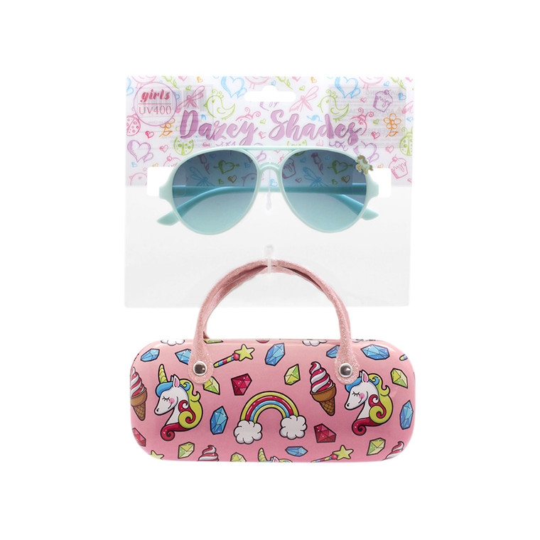 Wholesale Polycarbonate UV400 Tween Glitter Aviator Shape Fashion Sunglasses with Case   4 Pieces per Inner   DST13C