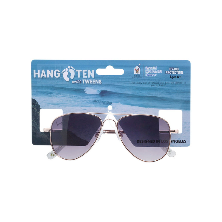 Wholesale Hang Ten Tweens Smoke Gradient Color Polycarbonate UV400 Square Sunglasses Girl   1 Inner with Tags   HTT01A