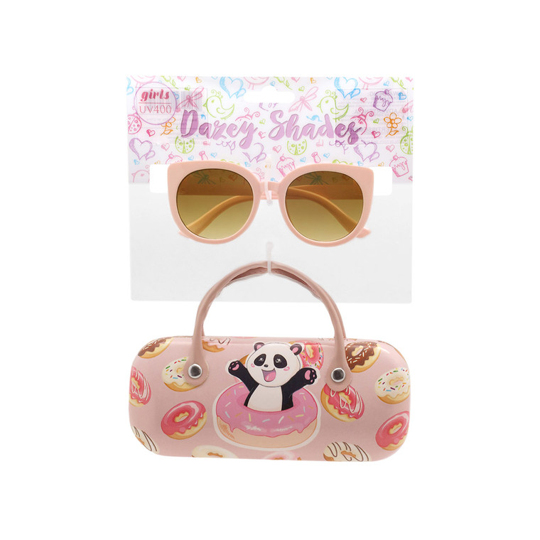 Wholesale Polycarbonate UV400 Tween Glitter Aviator Shape Fashion Sunglasses with Case   4 Pieces per Inner   DST14A