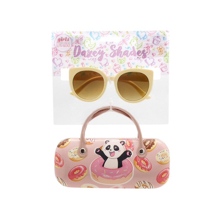Wholesale Polycarbonate UV400 Tween Glitter Panda Donut Fashion Sunglasses with Case | 4 Pieces per Inner | DST14B