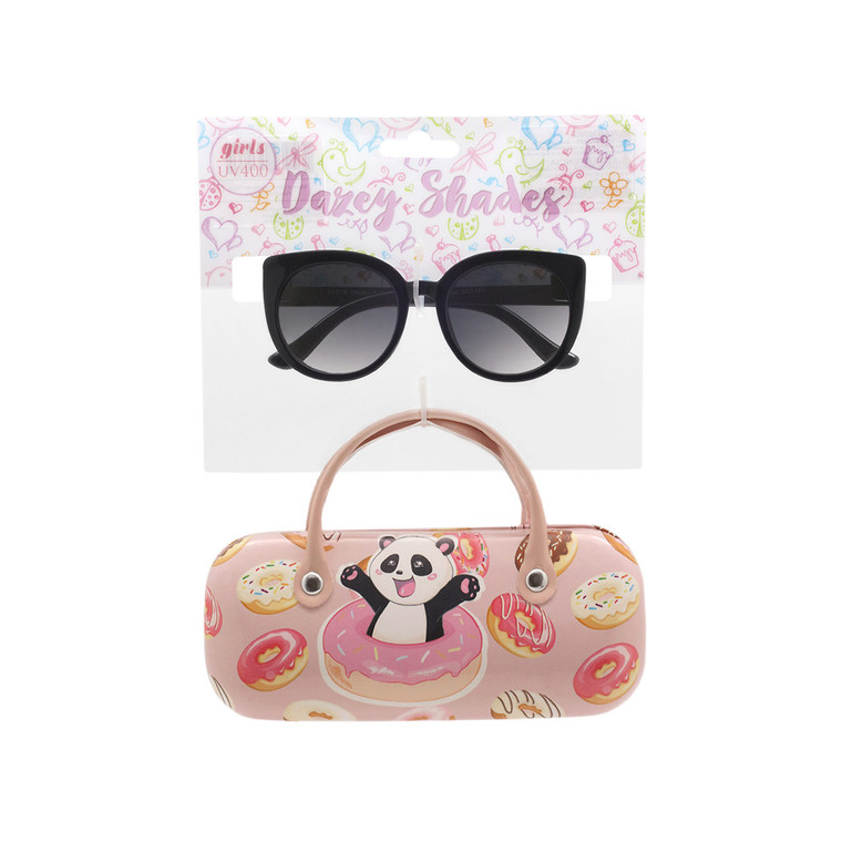 Wholesale Polycarbonate UV400 Tween Glitter Panda Donut Fashion Sunglasses with Case   4 Pieces per Inner   DST14C