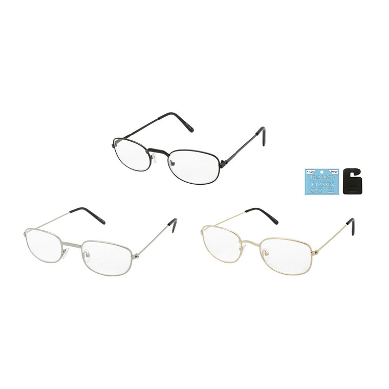 Assorted Metal Reading Glasses in Single Diopters