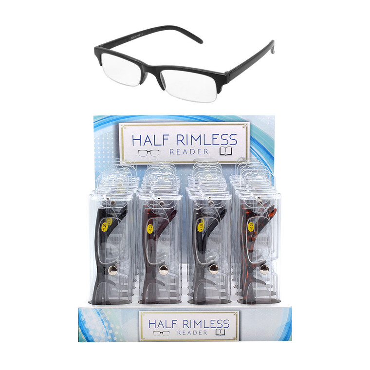 Unisex Half Rimless Readers + Display