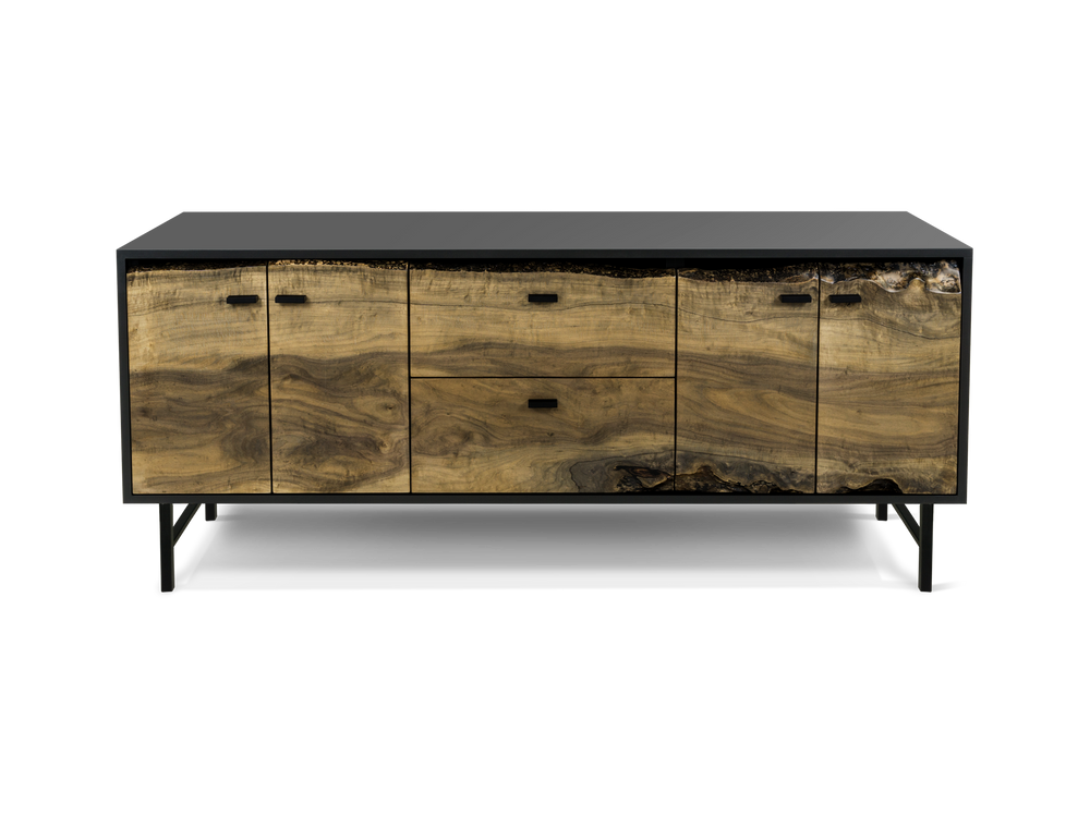 Custom Live Edge Credenza with Solid Face