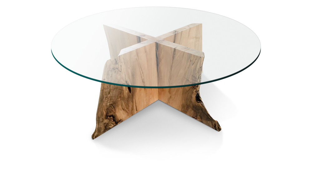 Glass Coffee Table with Interlocking Maple base 433