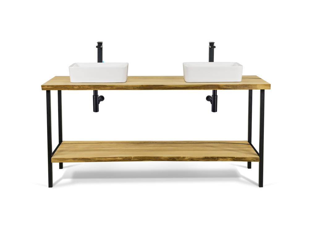 Live Edge Ash Double Vessel Vanity