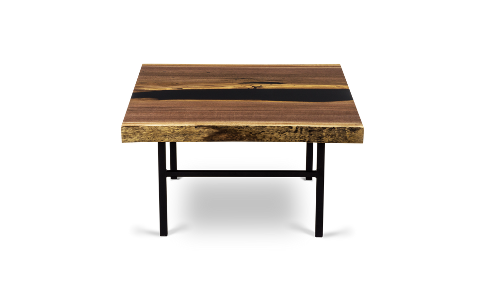1756 36 x 30 Gold Grade Walnut Coffee Table with Square Ladder Bases