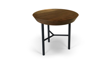 Beveled Round Walnut Side Table