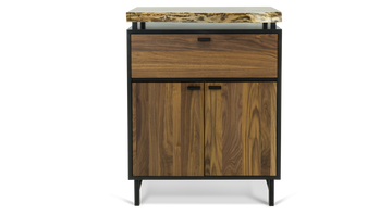 Bar Cabinet with Floating Live Edge Walnut Top 375