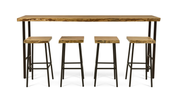 Live Edge Cherry Freestanding Bar with Four Stools
