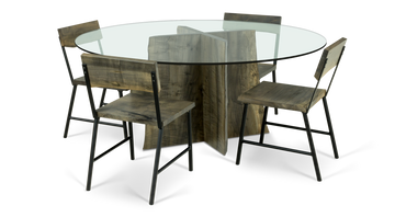 720 Glass Table with Ebonized Maple Base