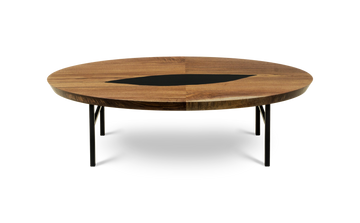 1758 Silver Grade Walnut Bookmatch Oval Coffee Table