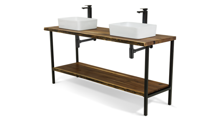 Live Edge Walnut Double Vessel Vanity