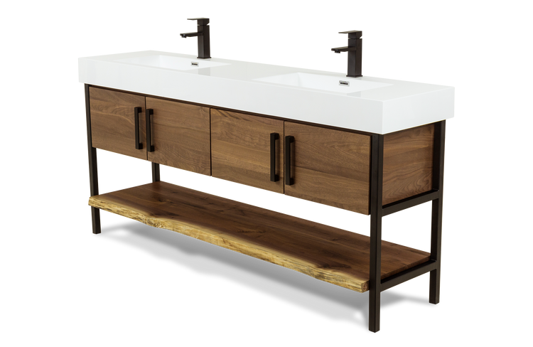Walnut Double Console Vanity