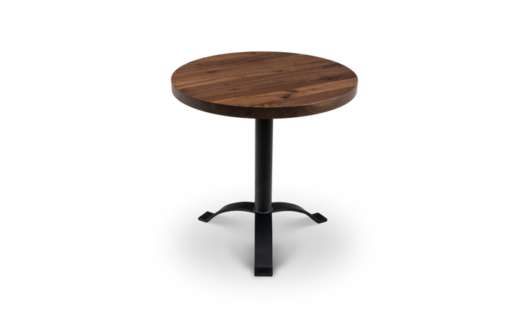 Beautiful bronze grade walnut bar table with wishbone pedestal base. Available in custom sizes as well.