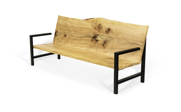 Maple Sofa Chair with Live edge back and Olive Cushions