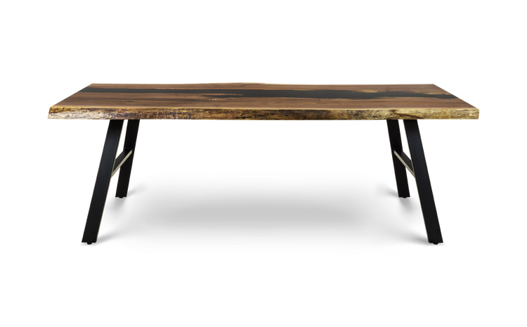 "1584 90"" Gold Grade Walnut Table with Black River and Bias Bases"
