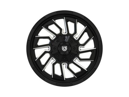 """Upfitter Mayhem Flywheel 20"""" Black Milled Wheels"""