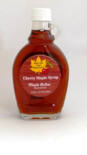 Cherry Maple Syrup - 8 oz. glass jug