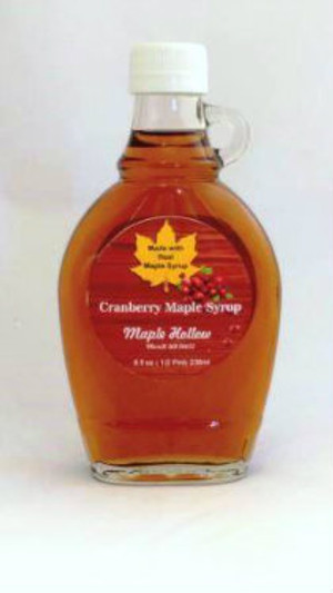 Cranberry Maple Syrup - 8 oz  glass jug