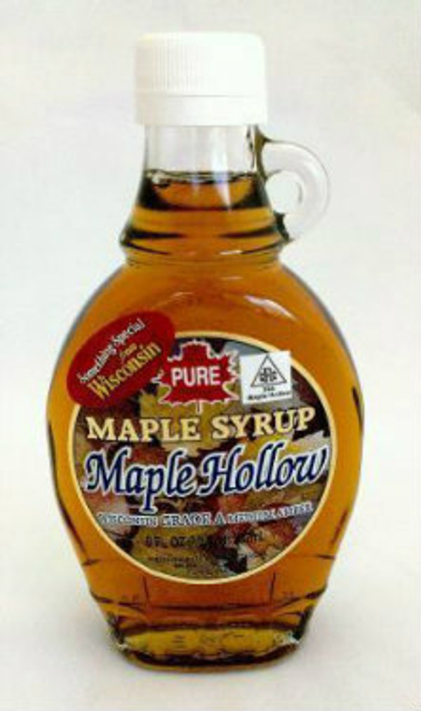 8oz (1/2Pint) Pure Maple Syrup Amber Rich / Medium Amber - Glass w/Handle - Kosher