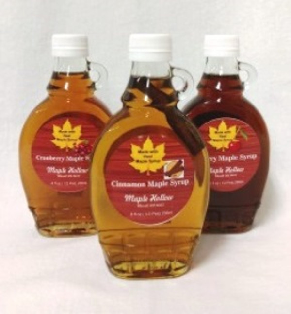 Fruit - Maple  blend Syrups .  8 ounce bottles of  Maple  syrup blended with sugar syrup and  fruit concentrates.
