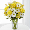 Brilliant yellow roses, Peruvian Lilies, white traditional daisies,green button pompons, send flowers Albuquerque
