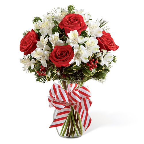 Christmas flowers, holiday flowers, red, white, Peruvian lilies, lily