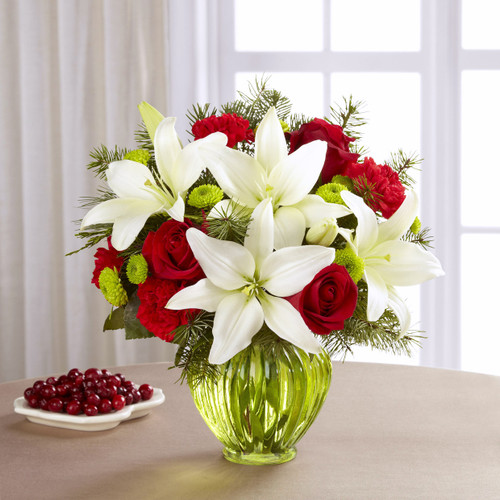 Christmas, holiday flowers, red roses, red carnations, green button poms, white Asiatic lilies, Albuquerque Florist