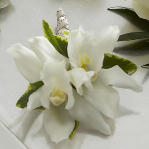 White Mini Cymbidium Boutonniere
