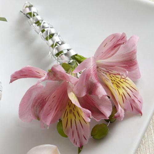 Pink Peruvian Lily Boutonniere