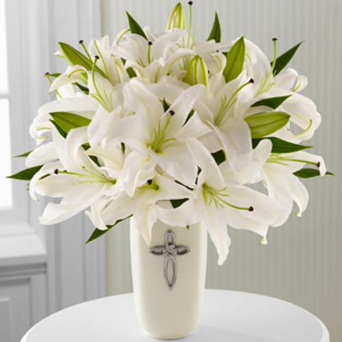 communion, confirmation, wedding, sympathy flowers, white lily, lillies